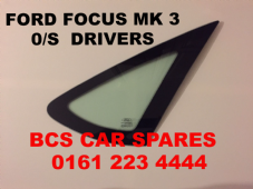 FORD FOCUS  MK 3  DRIVER  SIDE REAR 1/4 GLASS  / WINDOW    2005 - 2006  2007  USED  O/S